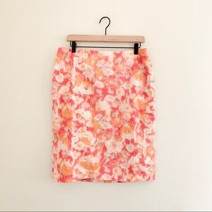 Talbots Spring Watercolor Floral Pencil Skirt - 10